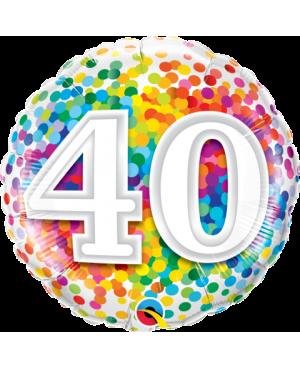 """40 Rainbow Confetti 18"""" (Minimo 3 Unid)"""