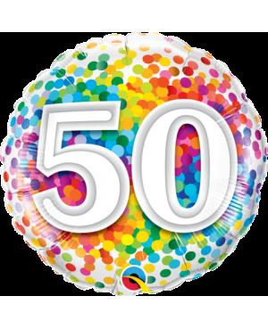 """50 Rainbow Confetti 18"""" (Minimo 3 Unid)"""