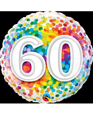 """60 Rainbow Confetti 18"""" (Minimo 3 Unid)"""