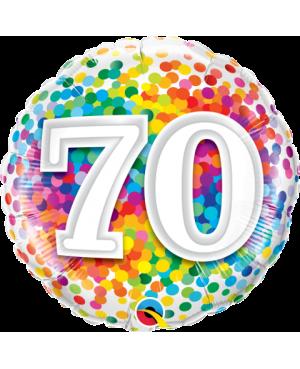 """70 Rainbow Confetti 18"""" (Minimo 3 Unid)"""