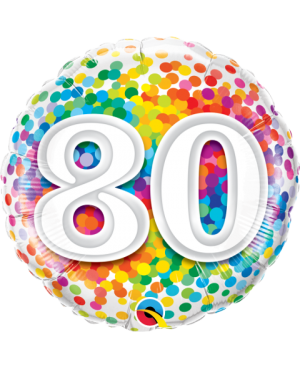 """80 Rainbow Confetti 18"""" (Minimo 3 Unid)"""