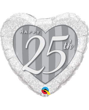 "Happy 25th Damask Heart 18"" (Minimo 3 Unid)"