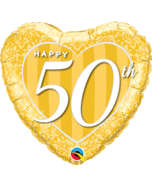 "Happy 50th Damask Heart 18"" (Minimo 3 Unid)"