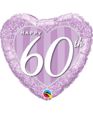 "Happy 60Th Damask Heart 18"" (Minimo 3 Unid)"