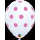 """Big Polka Dots (25ct) 11"""" (Blanco con Lunares Rosas)"""