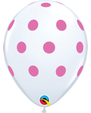 "Big Polka Dots (25ct) 11"" (Blanco con Lunares Rosas)"