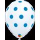 """Big Polka Dots (25ct) 11"""" (Blanco con Lunares Celestes)"""