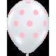 """Big Polka Dots 11"""" (50ct) Transparente con Lunares Rosas"""
