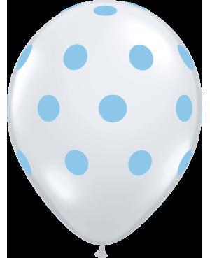 "Big Polka Dots 11"" (50ct) Transparente con Lunares Celestes"