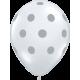 "Big Polka Dots 11"" (50ct) Transparente con Lunares Plata"