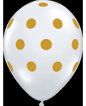 """Big Polka Dots 11"""" (50ct) Transparente con Lunares Oro"""
