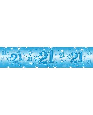 Age 21 Blue Sparkle Foil Banner 2.6m (01ct) Minimo 6 unid