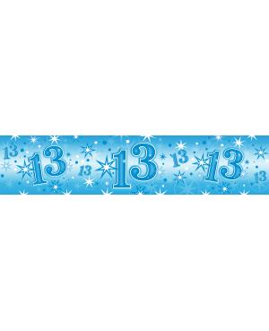 Age 13 Blue Sparkle Foil Banner 2.6m (1ct) Minimo 6 Unid