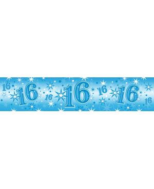 Age 16 Blue Sparkle Foil Banner 2.6m (1ct) Minimo 6 Unid