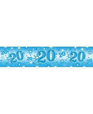 Age 20 Blue Sparkle Foil Banner 2.6m (1ct) Minimo 6 Unid