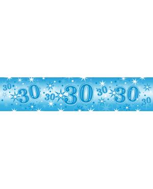 Age 30 Blue Sparkle Foil Banner 2.6m (1ct) Minimo 6 Unid
