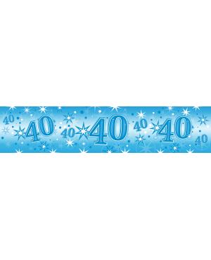 Age 40 Blue Sparkle Foil Banner 2.6m (1ct) Minimo 6 Unid