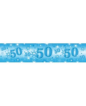 Age 50 Blue Sparkle Foil Banner 2.6m (1ct) Minimo 6 Unid