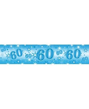 Age 60 Blue Sparkle Foil Banner 2.6m (1ct) Minimo 6 Unid