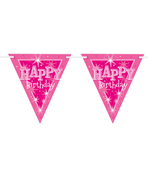 Happy Birthday Pink Sparkle Flag Banner 3.6m 16Flags (1ct)