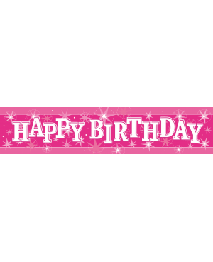 Happy Birthday Pink Sparkle- Foil Banner 2.6m (1ct) (Minimo 6unid)