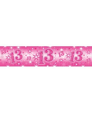 Age 13 Pink Sparkle- Foil Banner 2.6m (1ct) (Minimo 6unid)