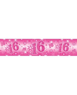 Age 16 Pink Sparkle- Foil Banner 2.6m (1ct) (Minimo 6unid)