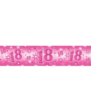 Age 18 Pink Sparkle- Foil Banner 2.6m (1ct) (Minimo 6unid)