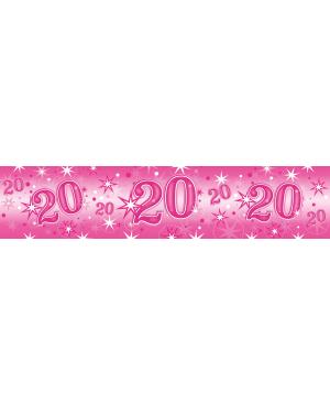 Age 20 Pink Sparkle- Foil Banner 2.6m (1ct) (Minimo 6unid)