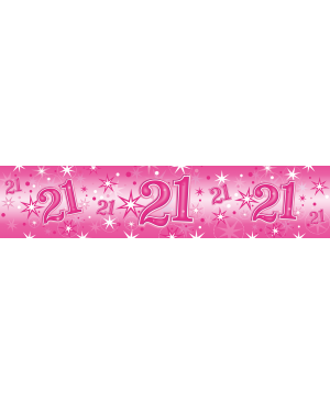 Age 21 Pink Sparkle- Foil Banner 2.6m (1ct) (Minimo 6unid)
