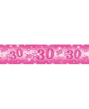 Age 30 Pink Sparkle- Foil Banner 2.6m (1ct) (Minimo 6unid)