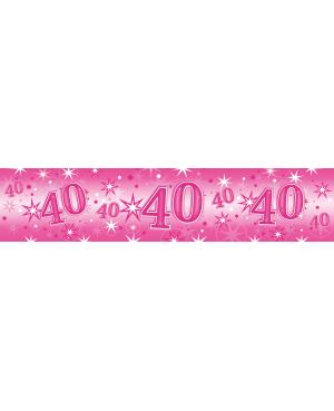 Age 40 Pink Sparkle- Foil Banner 2.6m (1ct) (Minimo 6unid)