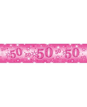Age 50 Pink Sparkle- Foil Banner 2.6m (1ct) (Minimo 6unid)