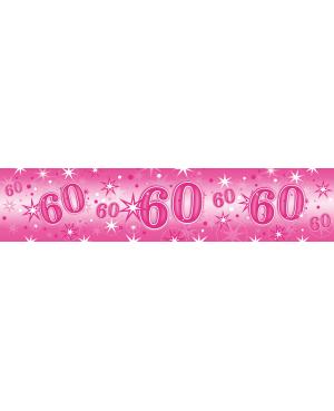 Age 60 Pink Sparkle- Foil Banner 2.6m (1ct) (Minimo 6unid)