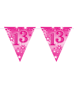Age 13 Pink Sparkle Flag Banner 3.6m 16Flags (1ct)