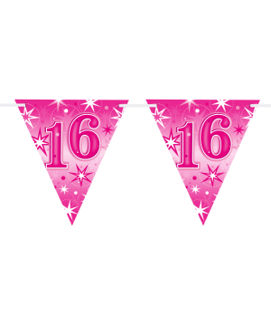 Age 16 Pink Sparkle Flag Banner 3.6m 16Flags (1ct)