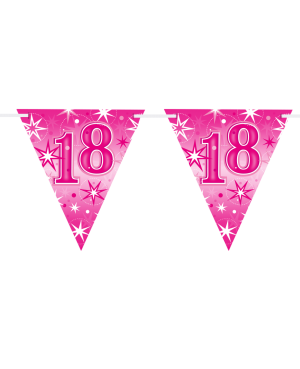 Age 18 Pink Sparkle Flag Banner 3.6m 16Flags (1ct)