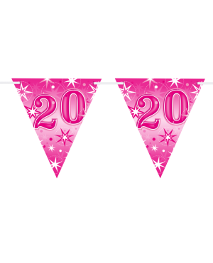 Age 20 Pink Sparkle Flag Banner 3.6m 16Flags (1ct)