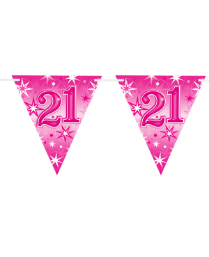 Age 21 Pink Sparkle Flag Banner 3.6m 16Flags (1ct)