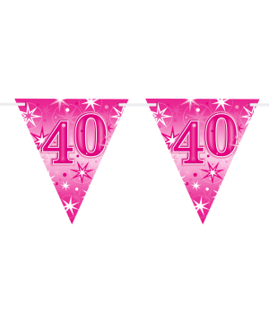 Age 40 Pink Sparkle Flag Banner 3.6m 16Flags (1ct)