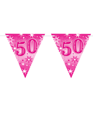 Age 50 Pink Sparkle Flag Banner 3.6m 16Flags (1ct)