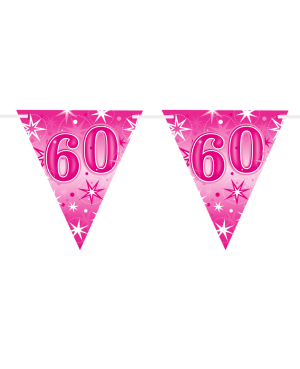 Age 60 Pink Sparkle Flag Banner 3.6m 16Flags (1ct)