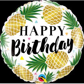 "18"" Birthday Golden Pineapples (Minimo 3 unid)"
