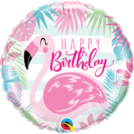 "18"" Birhday Pink Flamingo (Minimo 3 Unid)"