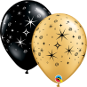 "11"" Sparkles & Swirls (50 unid) Onyx Black & Gold"
