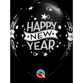 """11"""" New Year Confetti Dots (6Unid) Onyx Black"""