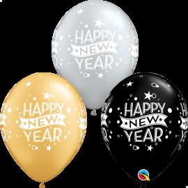 "11"" New Year Confetti Dots (25 Unid) Onyx Black & Silver -Gold"