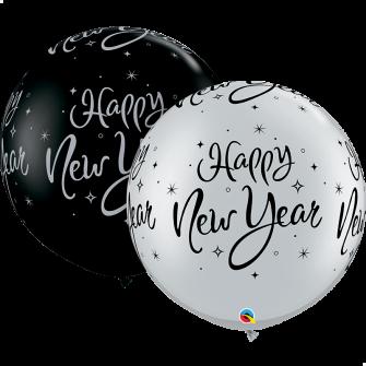 """30"""" 3` New Year Sparkle (50unid) Onyx Black & Silver"""