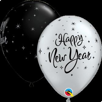 """11"""" New Year Sparkle (25unid) Onyx Black & Silver"""