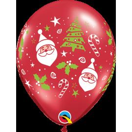 """Santa & Christmas Tree 11"""" Ruby Red ( 50ct)"""